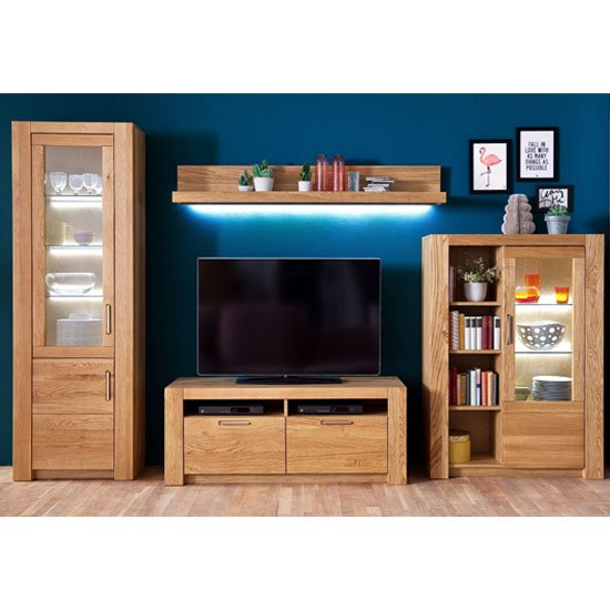 View Loano led living room set in wild oak with small tv unit