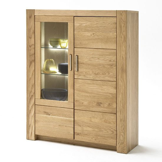 View Loano led wooden highboard in wild oak with 2 doors