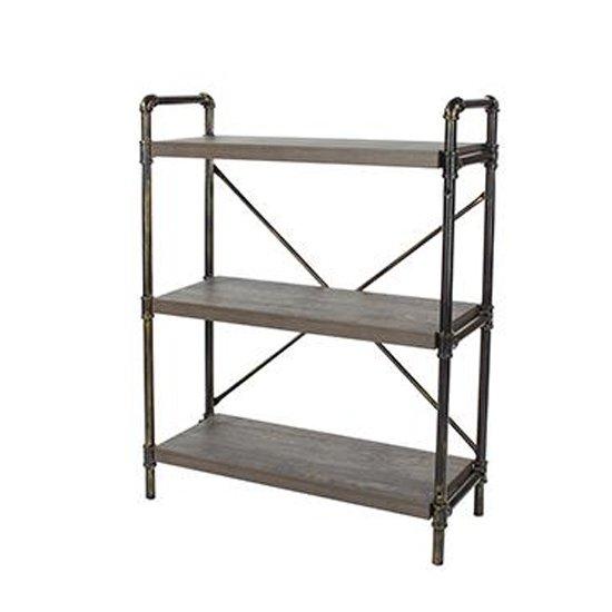 View Loft home 3 tier bookcase in dark oak with pipe design uprights