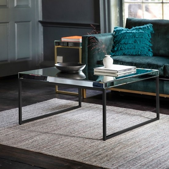 View Lombok mirrored coffee table square in black