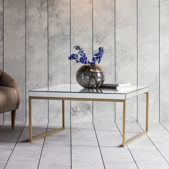 View Lombok mirrored coffee table square in champagne