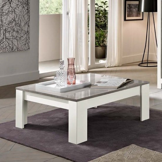 View Lorenz coffee table square in marble and white high gloss