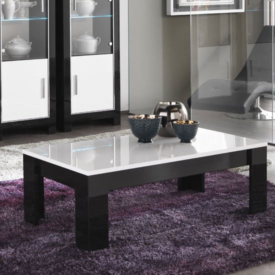 View Lorenz coffee table rectangular in black and white high gloss