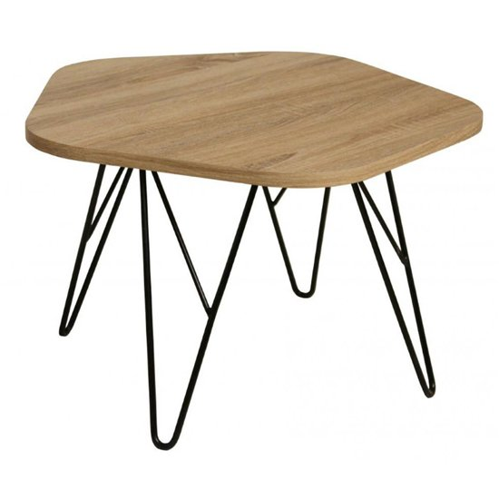 View Lugano natural wooden coffee table with black metal legs