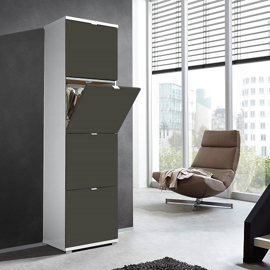 View Madison large shoe storage cabinet with basalt grey fronts
