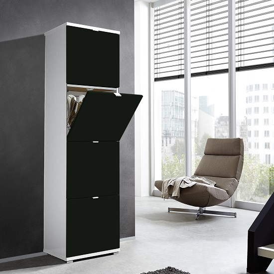 View Madison large shoe storage cabinet with matt black fronts