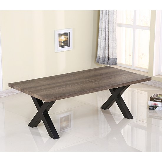 View Manhattan coffee table in natural with black metal legs