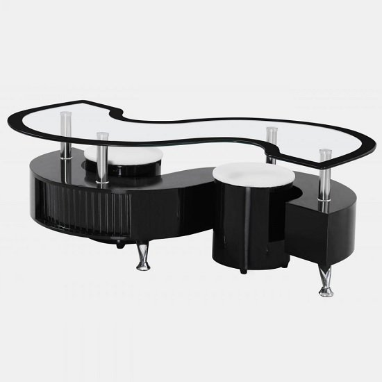 View Mantis glass coffee table in black high gloss with 2 stools