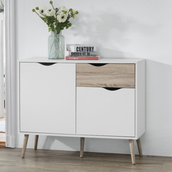 View Mapleton small sideboard in white and oak