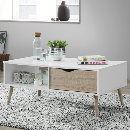 View Mapleton wooden coffee table in white and oak