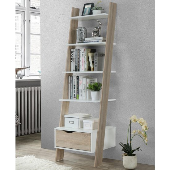 View Mapleton wooden ladder bookcase in white and oak effect