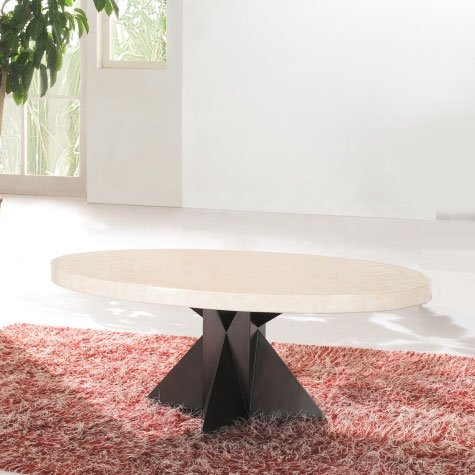 View Athens oval marble coffee table