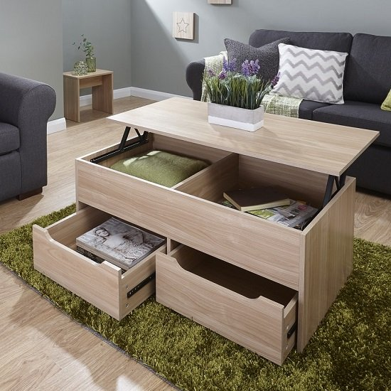 View Marcello storage coffee table in oak with lift up top