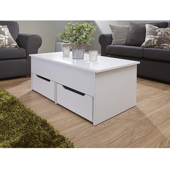 View Marcello storage coffee table in white with lift up top