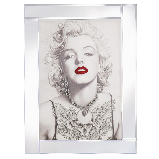 View Marilyn monroe glass wall art in mirrored frame with red lips