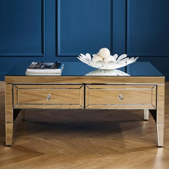 View Marnie mirrored rectangular coffee table with 2 drawers