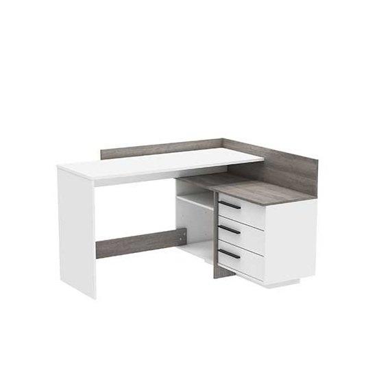 View Marvin wooden corner computer desk in prata oak and white