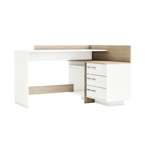 View Marvin corner computer desk in brushed oak and pearl white