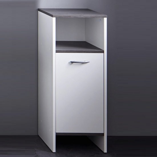 View Matis modern bathroom cabinet in white and smoky silver