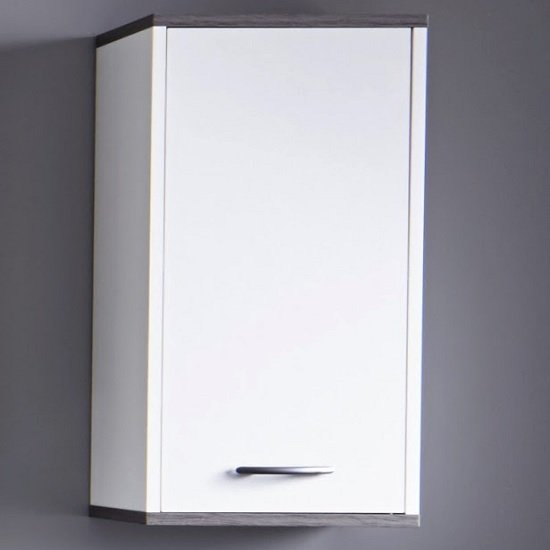 View Matis wall mounted bathroom cabinet in white and smoky silver