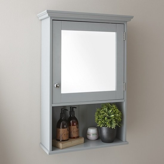 View Maxima wall mounted mirrored bathroom cabinet in grey and 1 door