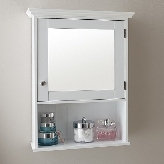 View Maxima wall mounted mirrored bathroom cabinet in white