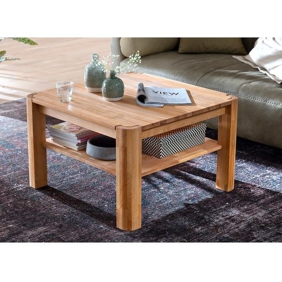 View Maxine wooden coffee table square in beech heartwood