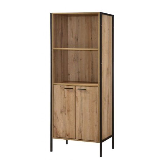View Mayan bookcase in oak effect with black metal frame