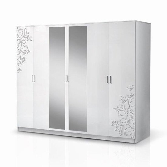 View Mayon mirrored 6 doors wardrobe in flower pattern white gloss