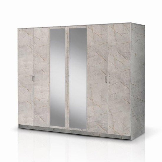 View Mayon mirrored wooden 6 doors wardrobe in grey marble effect