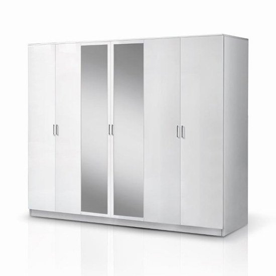 View Mayon mirrored wooden 6 doors wardrobe in white high gloss