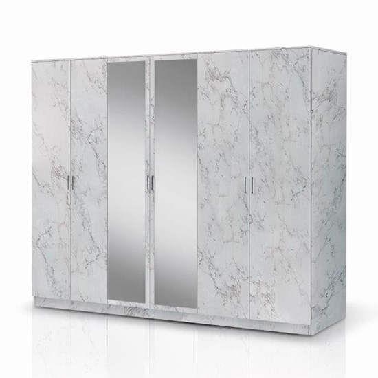 View Mayon mirrored wooden 6 doors wardrobe in white marble effect