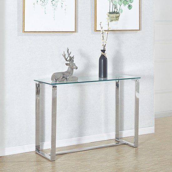 View Megan clear glass rectangular console table with chrome legs