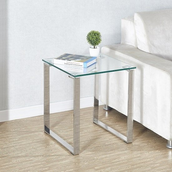 View Megan clear glass side lamp table with chrome legs