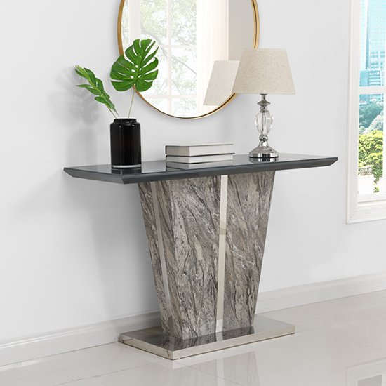 Melange Console Table In Gloss With Grey Glass Top 279 95 Go Furniture Co Uk