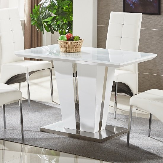 Memphis Glass Dining Table Small In White Gloss And Chrome Base 299 95 Go Furniture Co Uk