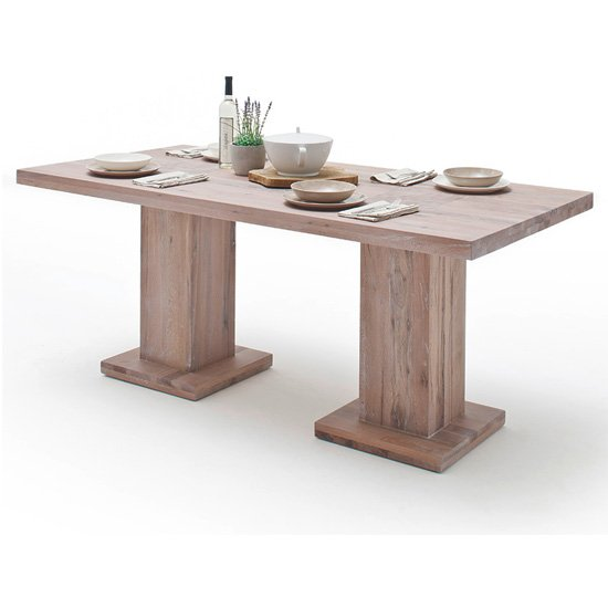 View Mancinni 260cm dining table in limed oak with 2 pedestals