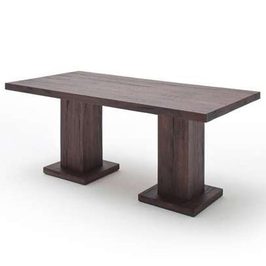View Mancinni 260cm dining table in weathered oak with 2 pedestals