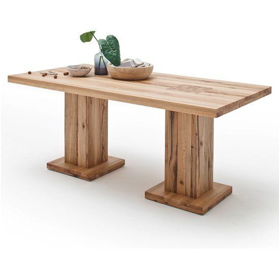 View Mancinni 260cm dining table in wild oak with 2 pedestals