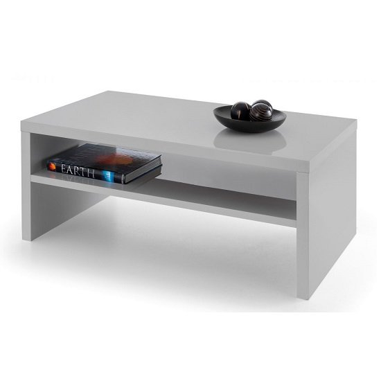 View Metric coffee table in grey high gloss with undershelf