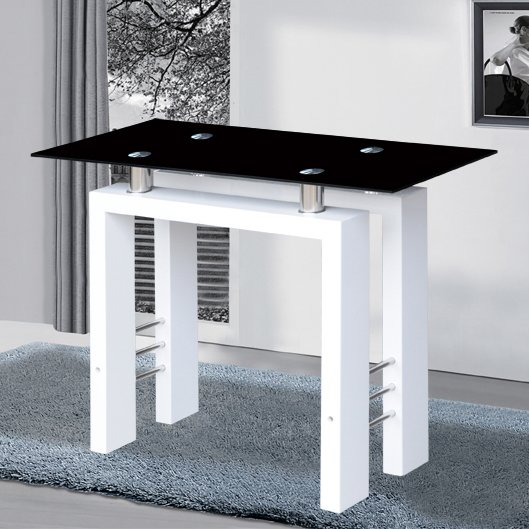 View Kontrast console table in black glass with white high gloss