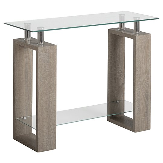 View Milan console table in light charcoal with clear glass top