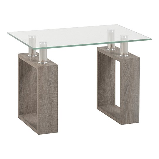 View Milan lamp table in light charcoal with clear glass top