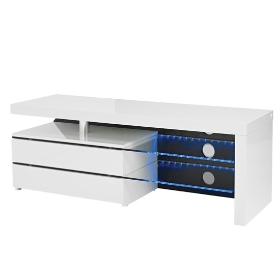 View Milano wooden tv unit in high gloss white