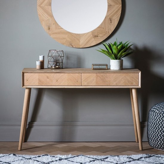 View Milano wooden console table with 2 drawers