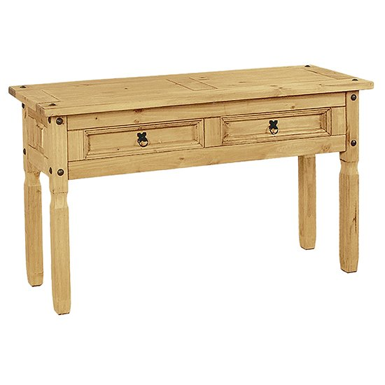 View Minoris console table in light pine with 2 drawers