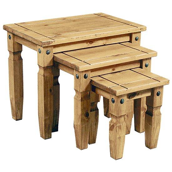 View Minoris set of 3 nest of tables in light pine