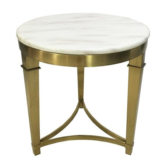 View Modena marble coffee table in white with metal frame