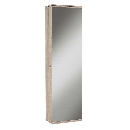 View Monale mirrored shoe storage cabinet in brushed oak