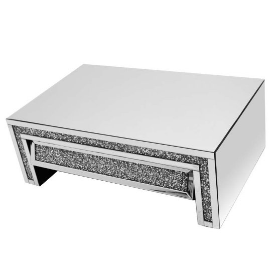 View Montrez mirrored coffee table angled with drawer